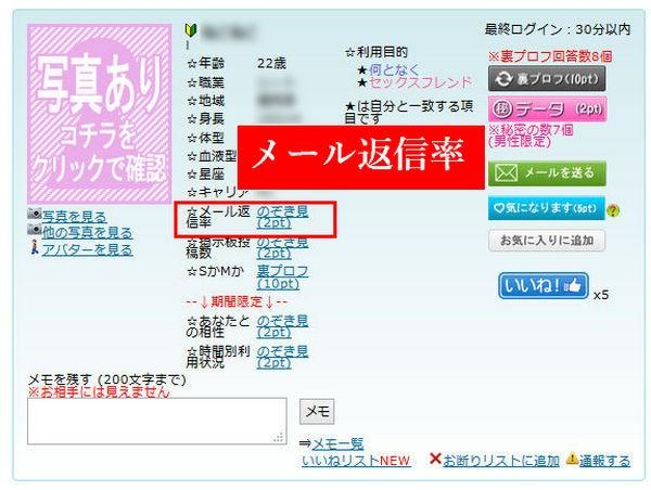 "PCMAXの女性プロフ畫面の""のぞき見マル秘データを見る"""